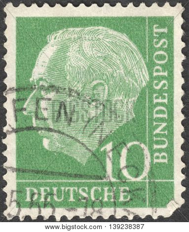 MOSCOW RUSSIA - CIRCA JANUARY 2016: a stamp printed in GERMANY shows a portrait of Theodor Heuss the series