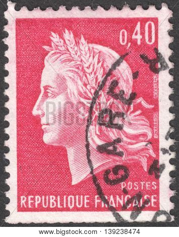 MOSCOW RUSSIA - CIRCA JANUARY 2016: a post stamp printed in FRANCE shows Marianne - Symbol of the French republic the series