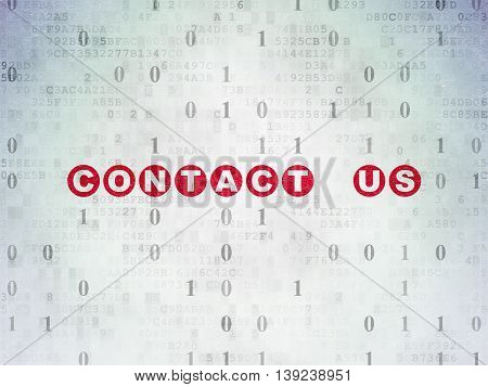 Finance concept: Painted red text Contact us on Digital Data Paper background with Binary Code