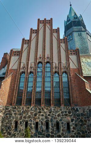 Windows in neo-Gothic Evangelic church in Poznan