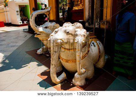 A Small Sculpture Of Elephants. Shwedagon Paya Pagoda. Yangon, Myanmar