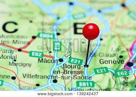 Bourg-en-Bresse pinned on a map of France