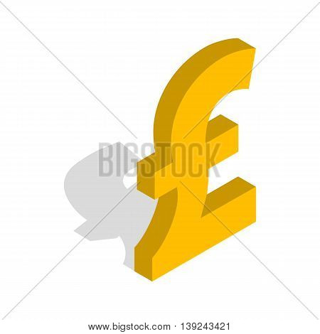 Sign of pound sterling icon in isometric 3d style isolated on white background. Money symbol