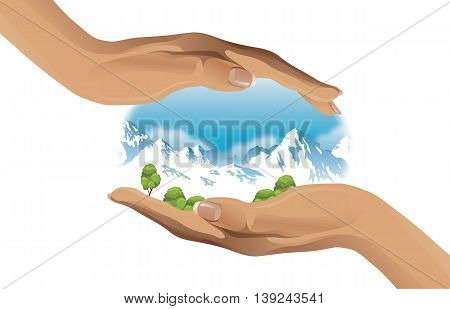 Two hands protecting the environment - vector illustration