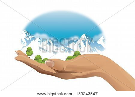 ecological vector illustration of snow-capped mountains on hand