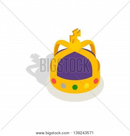 Crown English monarchs icon in isometric 3d style isolated on white background. Headdress symbol