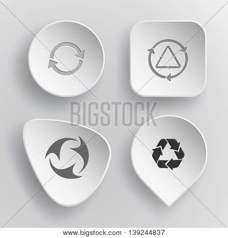4 images of  recycle symbols. White concave buttons on gray background. Vector icons set.