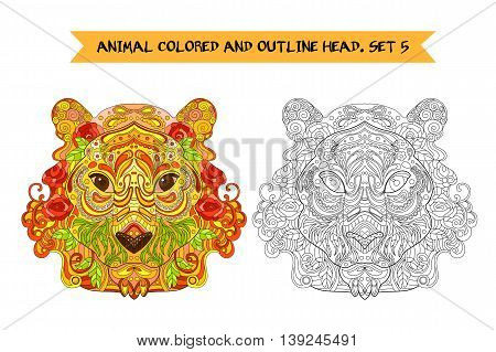 Ethnic Zentangle Ornate HandDrawn Lon Head. Black and White and Painted Ink Doodle Animal Head Vector Illustration. Sketch for Tattoo Poster Print or t-shirt. Relaxing Coloring Book for Adult and Children.