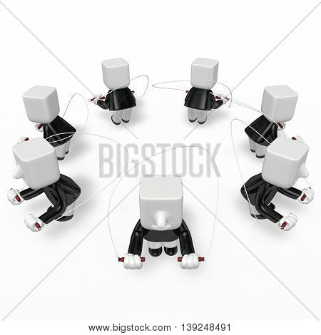 3D Business Men Exercising With His Skipping Rope