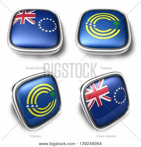 3D Cook Islands And Tokelau Flag Button