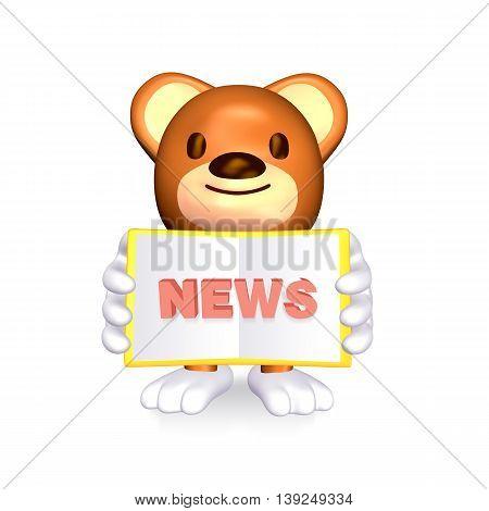 3D Cute Brown Bear Showing His News Book