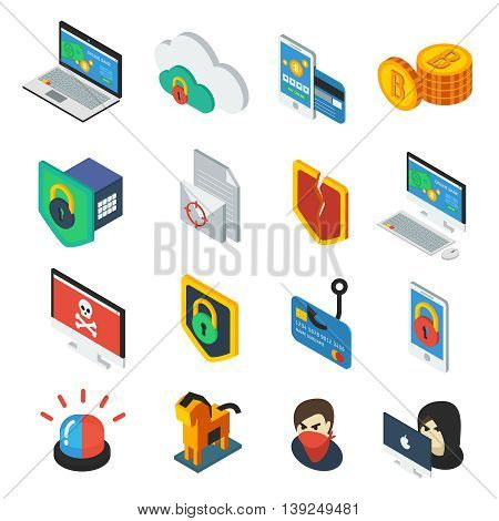 Internet security isometric icons set with e-commerce bitcoin computers hacker trojan virus alarm isolated vector illustration
