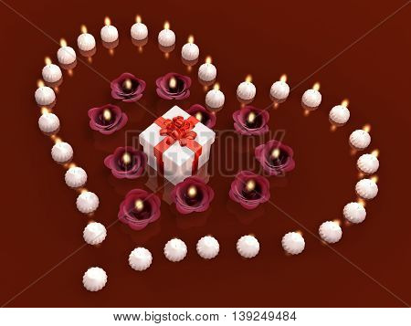 3D Decorated White Present With Flower Candle And Tealight