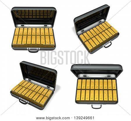 3D Gold Bar In The Black Bag Range Four Set