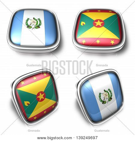 3D Guatemala And Grenada S Flag Button