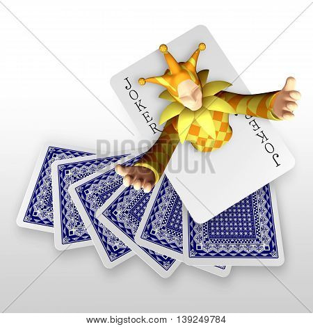 3D Joker Popping Out From Trump Cards