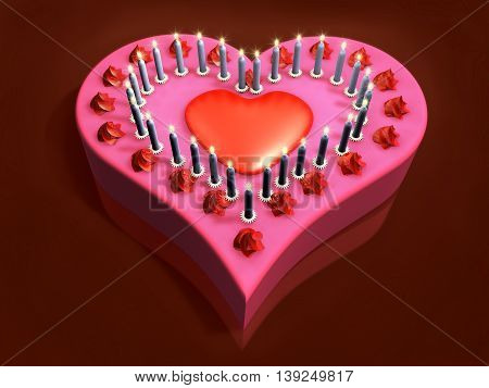 3D Lit Candle On Red Hard Heart Cake In The Dark Background