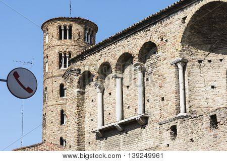 RAVENNA,ITALY-AUGUST 21,2015: particular of the San Appollinare nuovo church in Ravenna-Italyduring a sunny day .