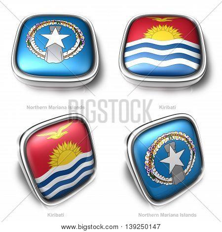 3D Northern Mariana Islands And Kiribati Flag Button