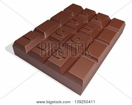 3D One Hard Squre Chocolate On White Background