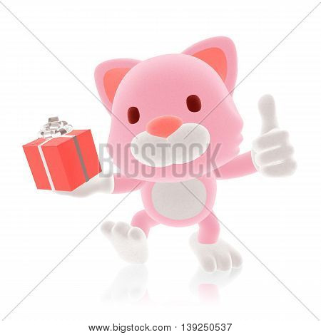 3D Pink Cat Giving Red Gift With His Thumb Up