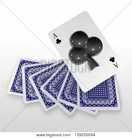 3D Pop Up Playing Card Suits As Club