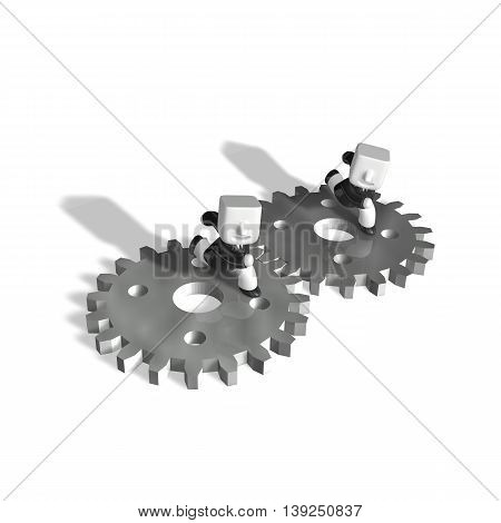 3D Running Business Two Men Hurriedly On Metal Wheels