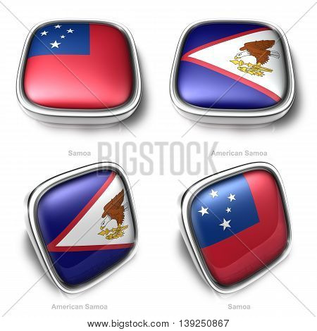 3D Samoa And American Samoa Flag Button