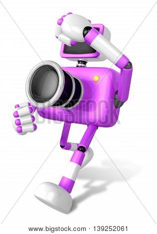 A Purple Camera Character And A Boxing Play. Create 3D Camera Robot Series.