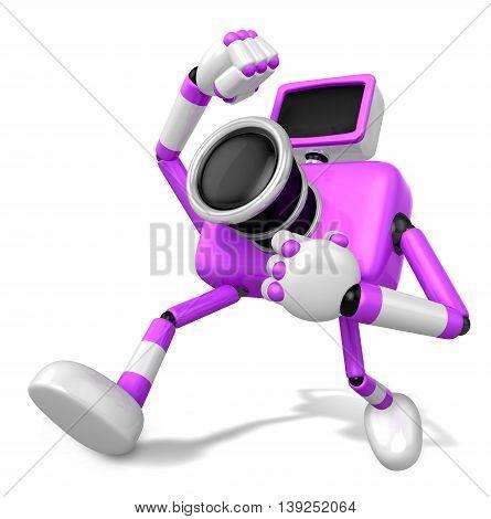 A Purple Camera Character And A Martial Arts. Create 3D Camera Robot Series.