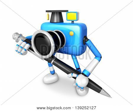 Blue Camera Character Ballpoint Pen A Handwriting. Create 3D Camera Robot Series.