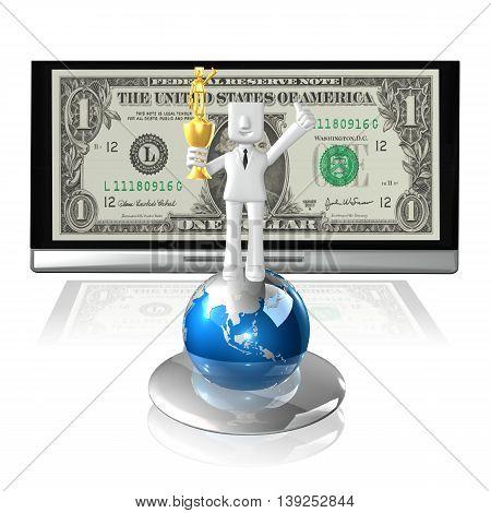 creative 3d business man winner on white background