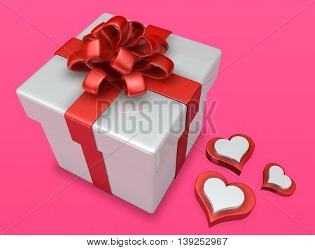 Decorated 3D Gift Box With Three Heart On Pink Background