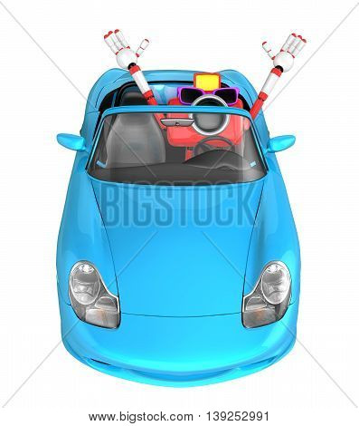 Driving A Cyan Convertible Car In Red Camera Character. Create 3D Camera Robot Series.