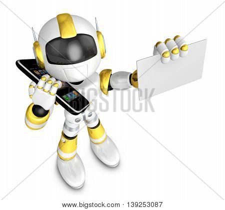 Gold Robot Character Calls And Present Business Card. Create 3D Humanoid Robot Series.