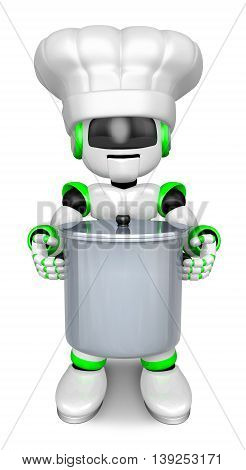 Green Robot Character Is Holding A Saucepan With Both Hands. Create 3D Humanoid Robot Series.