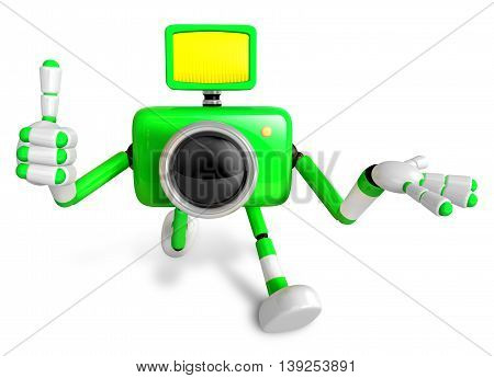 The Green Camera Character Taking The Right Hand Is The Best Gesture. Instructed To Gesture With The