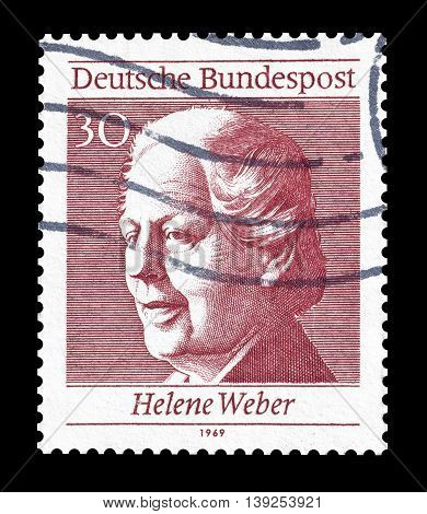 GERMANY - CIRCA 1969 : Cancelled postage stamp printed by Germany, that shows Helene Weber.