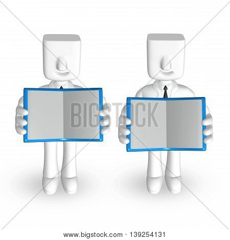 Two 3D Business Mans Showing Their Books