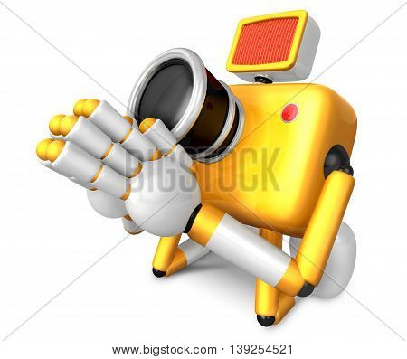 Yellow Camera Character Kneel In Prayer. Create 3D Camera Robot Series.