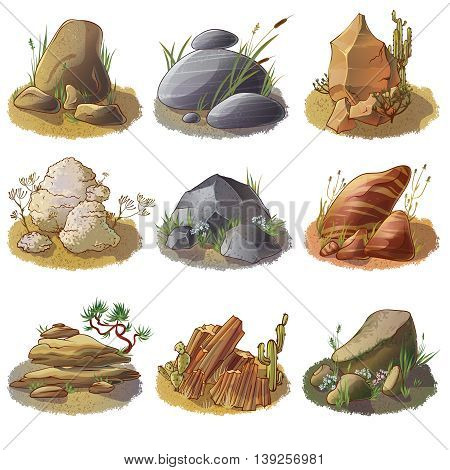 Mineral stones on ground collection of different rocks in natural environment isolated vector illustration
