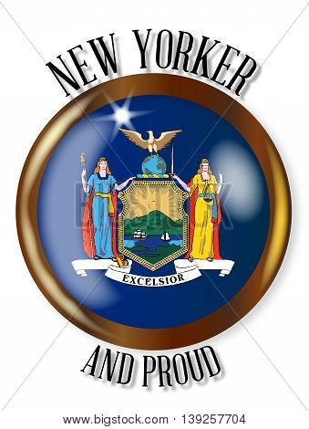 New York state flag button with a circular border over a white background with the text New Yorker and Proud