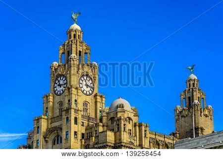 Liver Building in Liverpool with the Liver Bird atop the clock tower.
