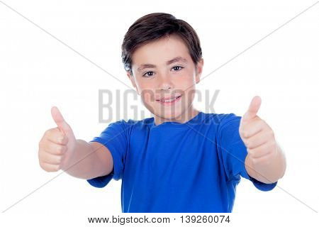 Funny child with ten years old and blue t-shirt saying Ok isolated on a white background
