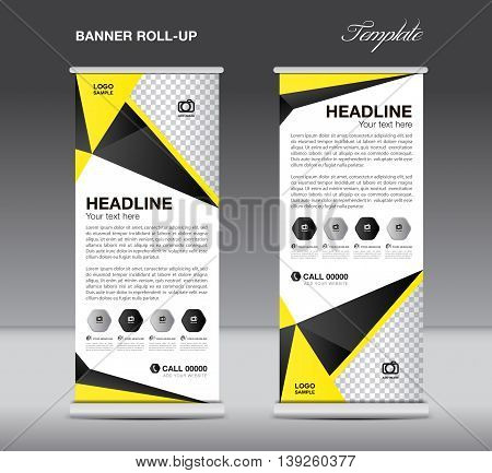 Black and yellow Roll up banner stand template flyer design display polygon background