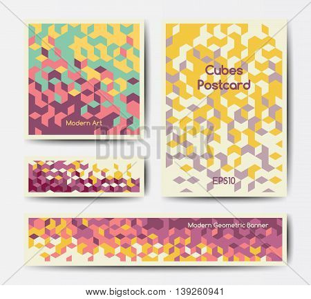 Vector modern polygonal templates with colorful isometric cubes patterns, postcard and flyer geometric design