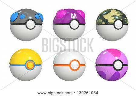 set of pokemon balls 3D rendering isolated on white background