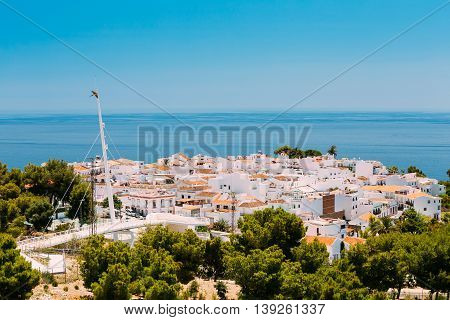 Mediterranean architecture - white houses in Nerja, Malaga Province, Andalusia, Spain