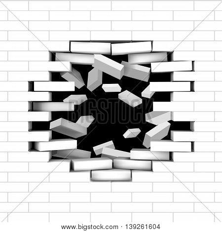 Broken brick wall with flying bricks. Vector editable illustration.