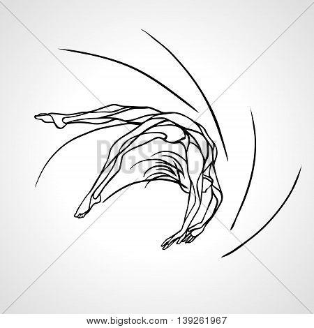 Creative silhouette of gymnastic or ballet girl. Art rhythmic gymnastics, black and white outline vector illustration